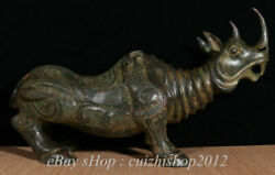 31 Old Chinese Bronze Ware Dynasty Palace Rhinoceros Beast Face Statue