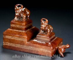 4 Old China Natural Hetian Jade Nephrite Carved Rhinoceros Bull Oxen Beast Seal