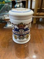 Royal Goedewaagen Delft Polychrome Colonial Williamsburg Apothecary Jar With Lid
