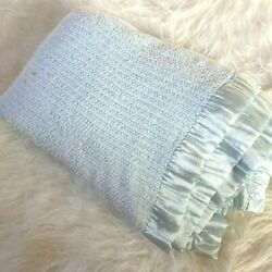 Vintage 80 Acrylic Blanket Wide Satin Trim King Queen 92x86 Baby Blue Usa Made