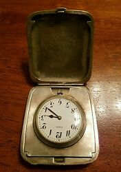 Rare Large Solid Sterling Silver Travel Watch Or Table Clock With Case