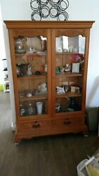 Antique Victorian Oak Bookcase/ China Cabinet With Glass Doors