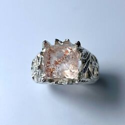 4.3ct Natural Strawberry Quartz With Hematite 925 Silver / 9ct 14k 18k Gold Ring