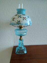 Antique Blue Glass Electrified Oil Lamp W/hp Shade