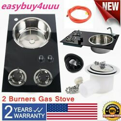 Boat Caravan Rv Camper Lpg Stove Hob/sink Combo With Glass Lid And Faucet Right