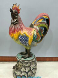 27.5 Old China Cloisonne Enamel Bronze12zodiac Year Rooster Cock Animals Statue