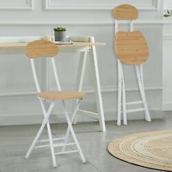Set Of 2 Bar Stools Foldable Portable Dining Chair Wooden Chair 2 Color