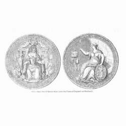 Great Seal Of Queen Anne After The Union With Scotland - Antique Print 1845