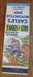Hillbilly Carle's Motorcycle Shop Laconia New Hampshire 1950s Matchbook F12
