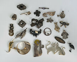 Huge Lot Of 23 Vintage Sterling Silver Brooch Pin Mexico Marcasite 194-grams
