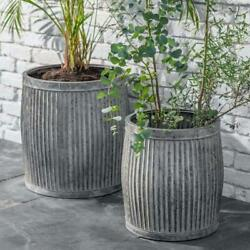 Tall Vence Planters Outdoor Rustic Grey Ribbed Metal Plant Pot Bucket 2 Sizes
