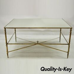 Vintage Italian Hollywood Regency Gold Iron Frame Coffee Table With Mirror Top