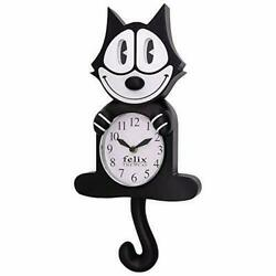 Felix The Cat Animated Wall Clock - Black - The Tail Is The Pendulum - New - Njc
