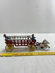 Vtg Cast Iron Two Horse Drawn Hook And Ladder With 2 Firemen Wagon Toy Approx 15