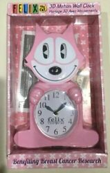 Felix The Cat Animated Wall Clock - Pink - The Tail Is The Pendulum - New - Njc