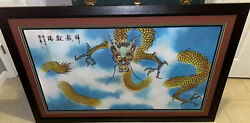 Vintage Chinese Watercolor Dragon In The Clouds In Frame 4 Ft 9 1/2 In X 3ft