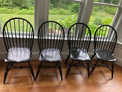 Warren Chair Works Set Of 4 Black Windsor Dining Room Chairs