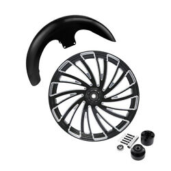 23and039and039 Front Wheel Rim Single Disc Hub And Fender Fit For Harley Electra Glide 08-21