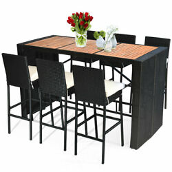 Patiojoy 7pc Outside Atio Rattan Wicker Bar Dining Set 6 Stools W/wood Top Table