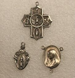 Antique 3 Sterling Silver Religious Medals Pendants