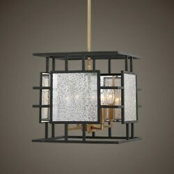 Holmes Aged Mercury Glass And Metal Pendant Chandelier 4 Light Uttermost 21543