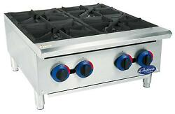 Globe C24ht 24 Chefmate Gas Hot Plate 4 Burners With Manual Controls