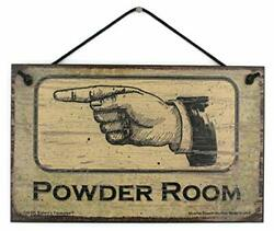 Powder Room - Left Vintage Style Sign Pointing To The Bathroom Girls Ladies