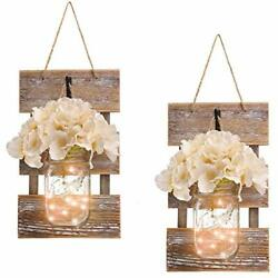 Rustic Brown Mason Jar Sconces For Home Decor Decorative Chic Hanging House D...