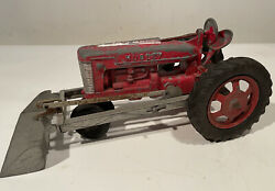 """Vintage Hubley Kiddie Toy Farm Tractor - No. 500 - With Front Loader Usa 12"""""""
