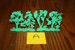 Vintage Marx Army Battleground Set Of Four Trees On Two Stands Tank A - Mpc