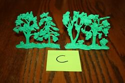 Vintage Marx Army Battleground Set Of Four Trees On Two Stands Tank C - Mpc