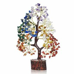 Crystal Gemstone Bonsai Money Tree With Golden Wire And 300 Beads Figurine