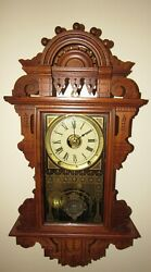 Antique Seth Thomas Eclipse Hanging Kitchen Wall Clock With Alarm 8-day