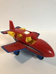 Vintage American Plastic Toys Inc Airplane Red Yellow And Blue Usa Toy Gift