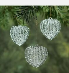Set Of 12 Spun Glass Heart Ornaments Vintage Valentines / Christmas Tree - Clear