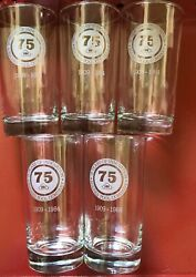 5 - Collectible 75 Years Drinking Glasses 1909 - 1984 In Excellent Condition