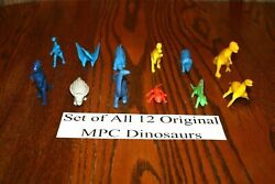 Set Of All 12 Vintage Multiple Toymakers Mpc Dinosaurs Playset - Marx Timmee