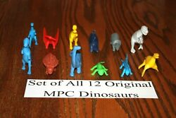 Set Of All 12 Vintage Multiple Toymakers Mpc Dinosaurs Playset A - Marx Timmee