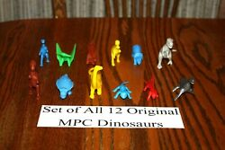 Set Of All 12 Vintage Multiple Toymakers Mpc Dinosaurs Playset B - Marx Timmee