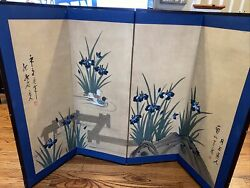 Vintage Antique Japanese 4 Folding Screen 2 Doves Swimming In Pond 4ft 5in X 3ft