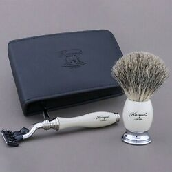 3pc Shaving Set Travel Vintage Grooming Leather Case Pouch Mens Razor Kit Safety