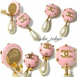Vintage Coco Mark Earring Stone Earring Rare Pearl Pink