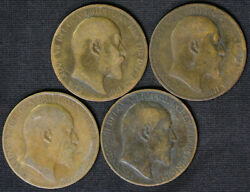 Lot Of 4 Edward Vii Great Britain One Penny Coins 1902 1902 1907 1908