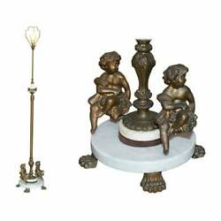 Lovely Circa 1920and039s Marble And Brass Floor Standing Lamp With Cherub Puttiand039s Angel