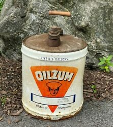 Vintage Oilzum Five 5 Gallon Oil Can 1960's 1963 Advertising Wood Handle