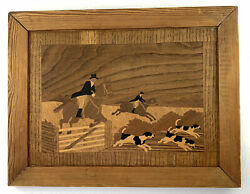 Vtg Buchschmid And Gretaux Style Unsigned Marquetry Wood Inlay Fox Hunt Picture