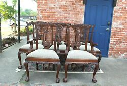 Set Of 8 Carved Mahogany Upholstered Dining Chars