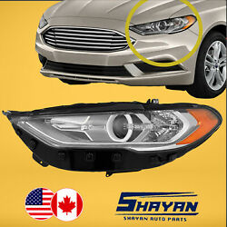 For 2017 2018 2019 2020 Ford Fusion Left Side Halogen Headlight + Led Drl