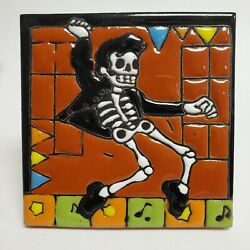 Day Of The Dead Elvis Glossy Raised Texture Mexican Talavera Ceramic Tile 4x4