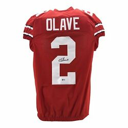 Chris Olave Red Signed Ohio State College Style Game Cut Custom Jersey Becke